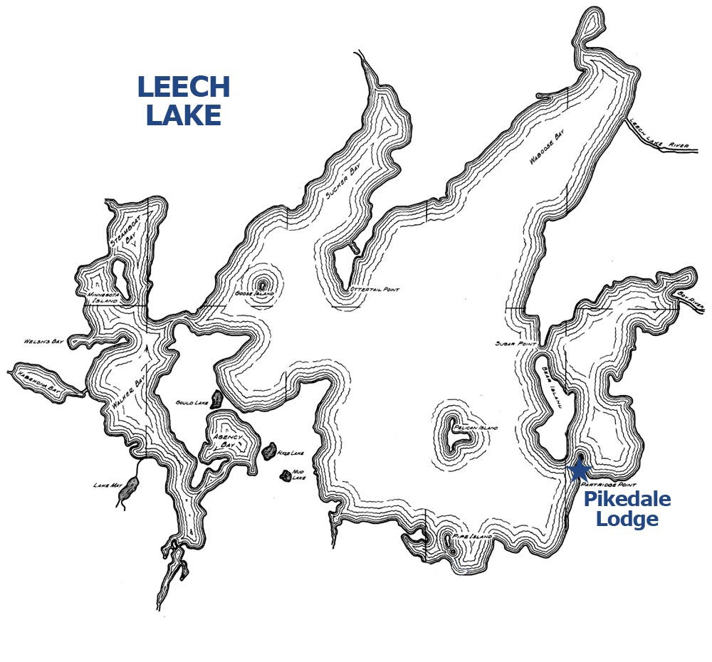 Leech Lake outline Pikedale Lodge