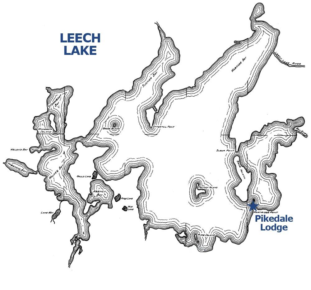 Leech Lake outline Pikedale Lodge